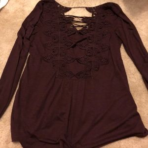 Deep plum lace up top